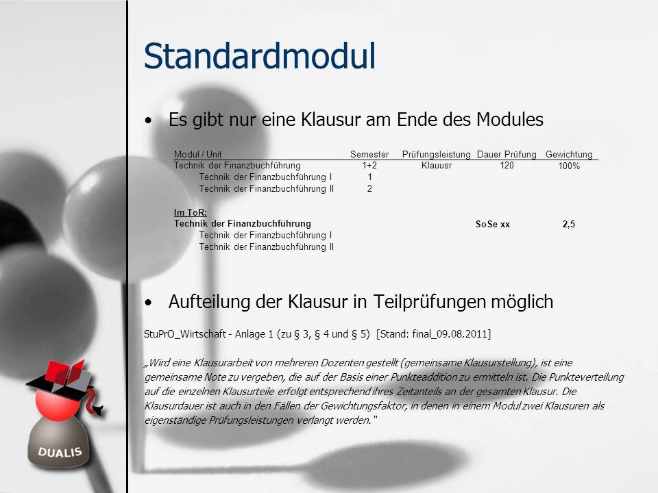 Standardmodul Es gibt nur eine Klausur am Ende des Modules