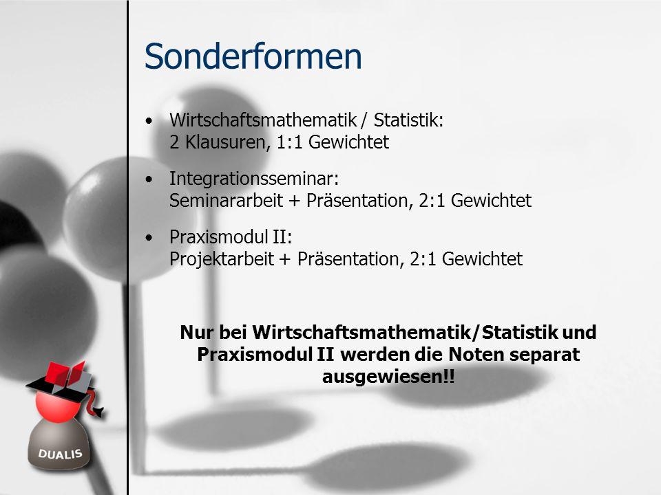 Sonderformen Wirtschaftsmathematik / Statistik: 2 Klausuren, 1:1 Gewichtet. Integrationsseminar: Seminararbeit + Präsentation, 2:1 Gewichtet.