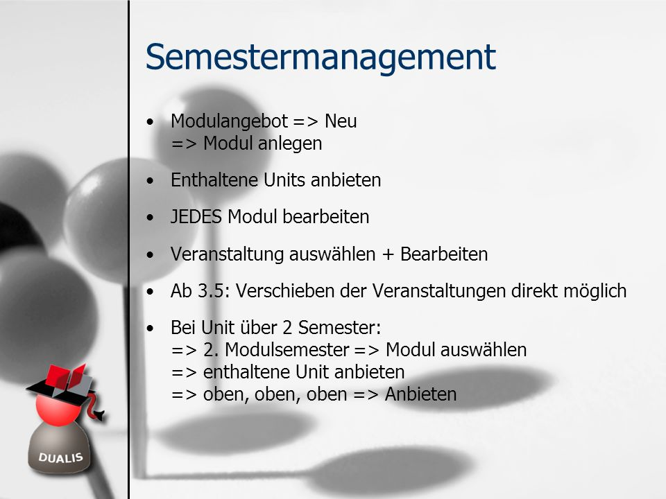 Semestermanagement Modulangebot => Neu => Modul anlegen