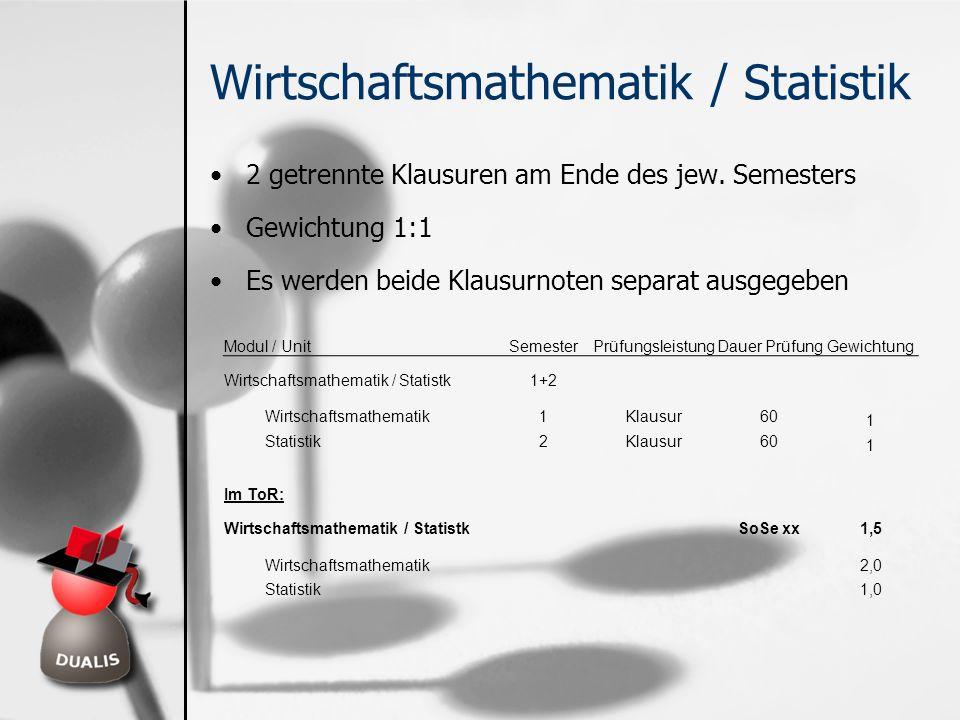 Wirtschaftsmathematik / Statistik