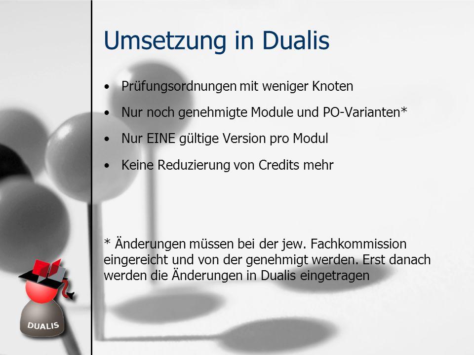 Umsetzung in Dualis Prüfungsordnungen mit weniger Knoten