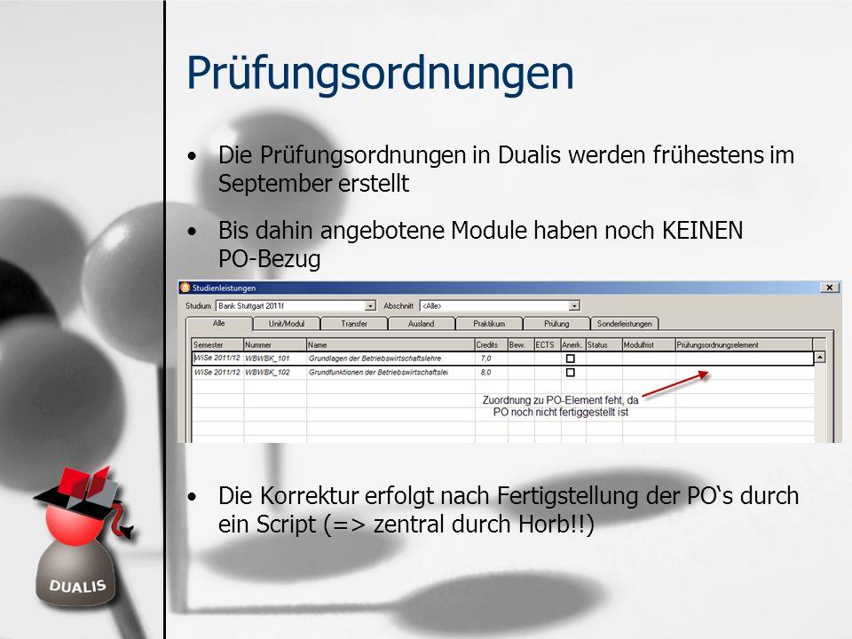 Prüfungsordnungen Die Prüfungsordnungen in Dualis werden frühestens im September erstellt. Bis dahin angebotene Module haben noch KEINEN PO-Bezug.