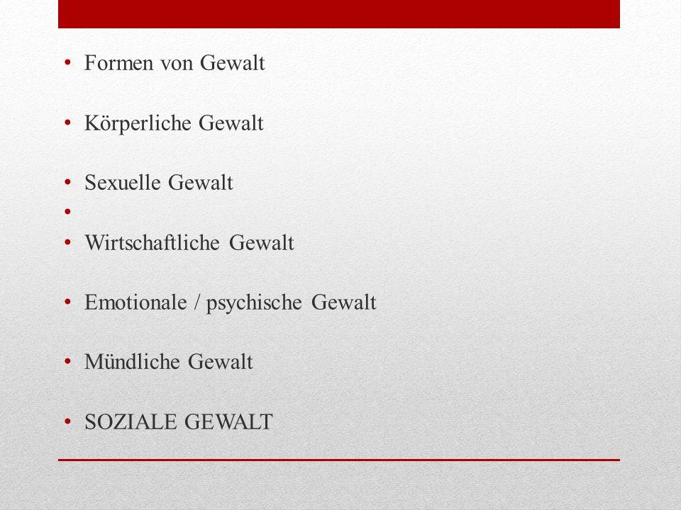 Formen von Gewalt Körperliche Gewalt. Sexuelle Gewalt. Wirtschaftliche Gewalt. Emotionale / psychische Gewalt.
