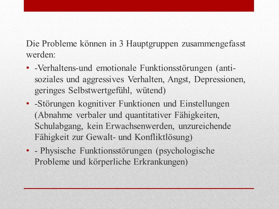 Die Probleme können in 3 Hauptgruppen zusammengefasst werden:
