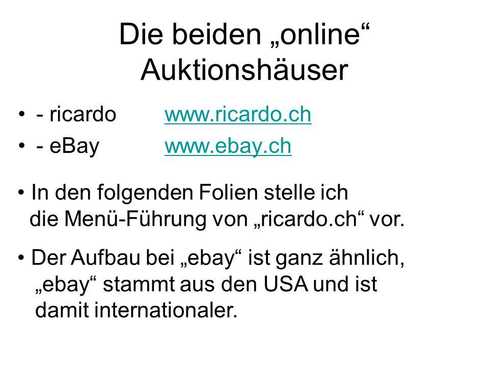 """Die beiden """"online Auktionshäuser"""