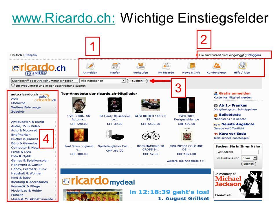 www.Ricardo.ch: Wichtige Einstiegsfelder