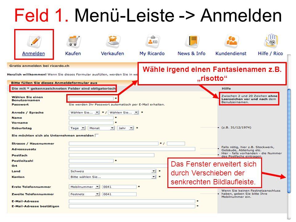 Feld 1. Menü-Leiste -> Anmelden