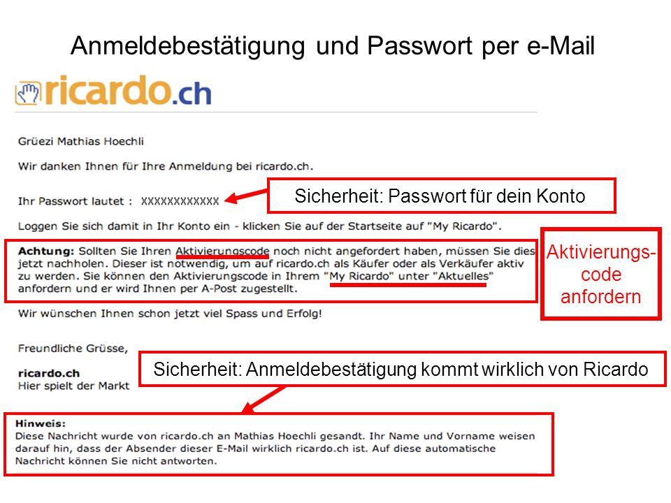 Anmeldebestätigung und Passwort per e-Mail