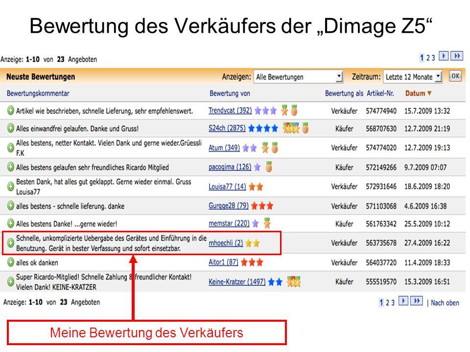 """Bewertung des Verkäufers der """"Dimage Z5"""