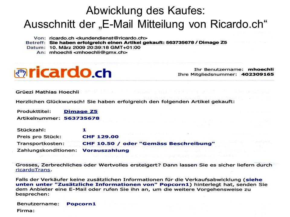 """Abwicklung des Kaufes: Ausschnitt der """"E-Mail Mitteilung von Ricardo"""