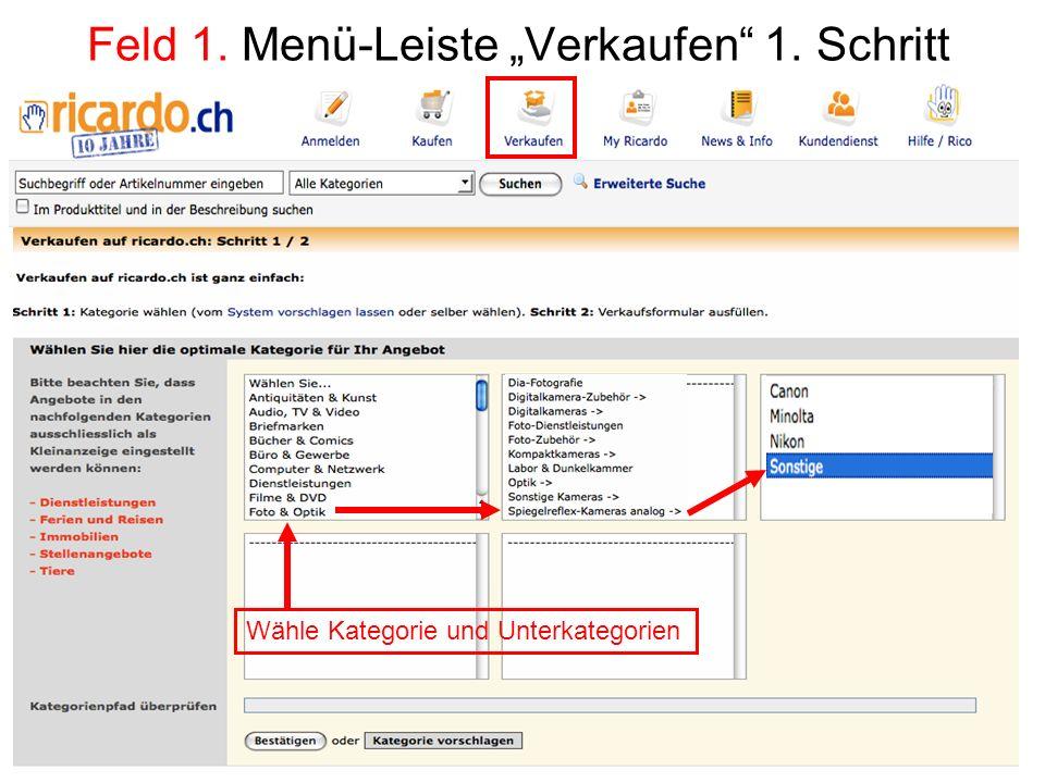 """Feld 1. Menü-Leiste """"Verkaufen 1. Schritt"""