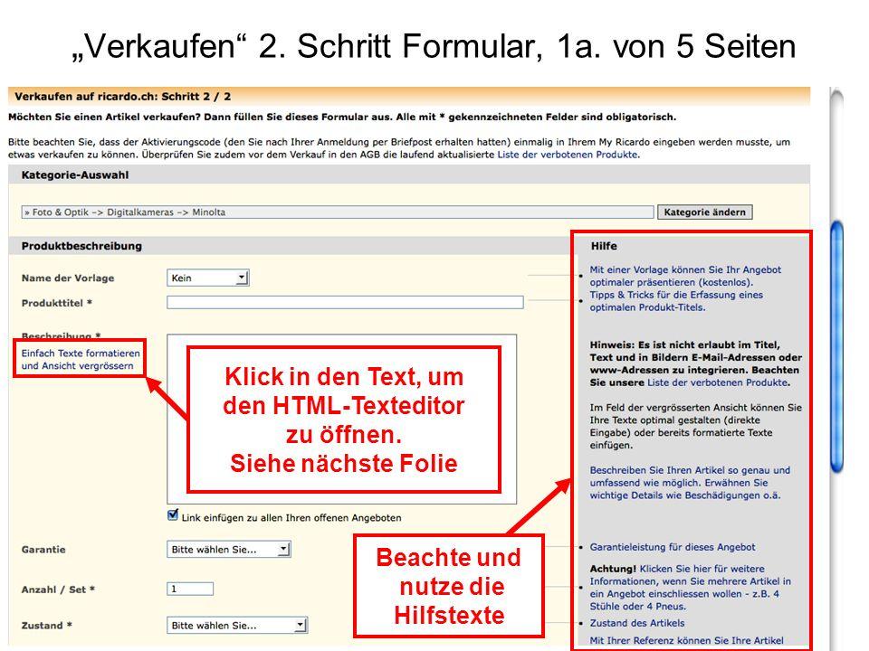"""""""Verkaufen 2. Schritt Formular, 1a. von 5 Seiten"""