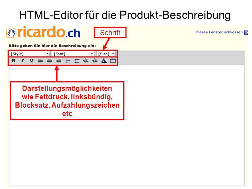 HTML-Editor für die Produkt-Beschreibung