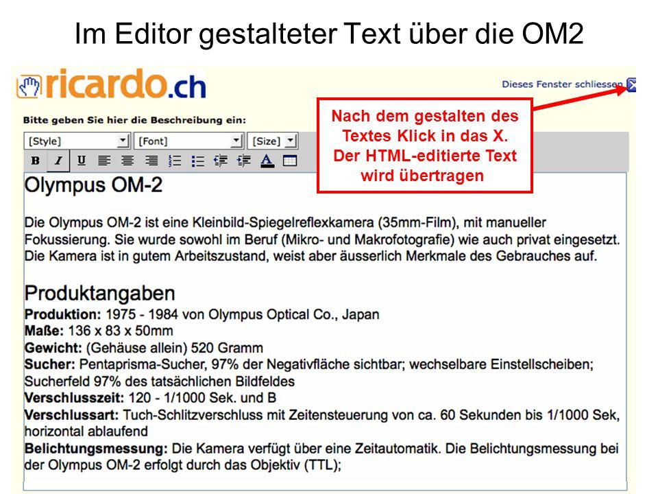 Im Editor gestalteter Text über die OM2