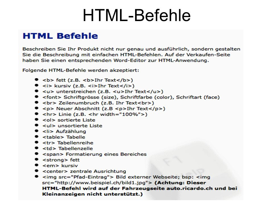 HTML-Befehle