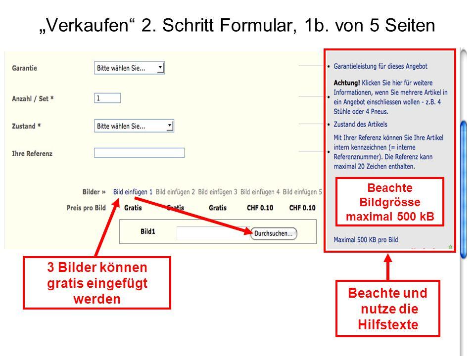 """""""Verkaufen 2. Schritt Formular, 1b. von 5 Seiten"""