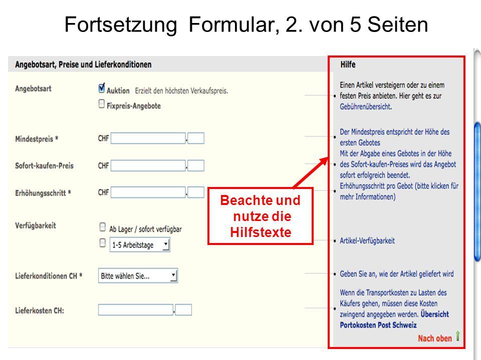 Fortsetzung Formular, 2. von 5 Seiten