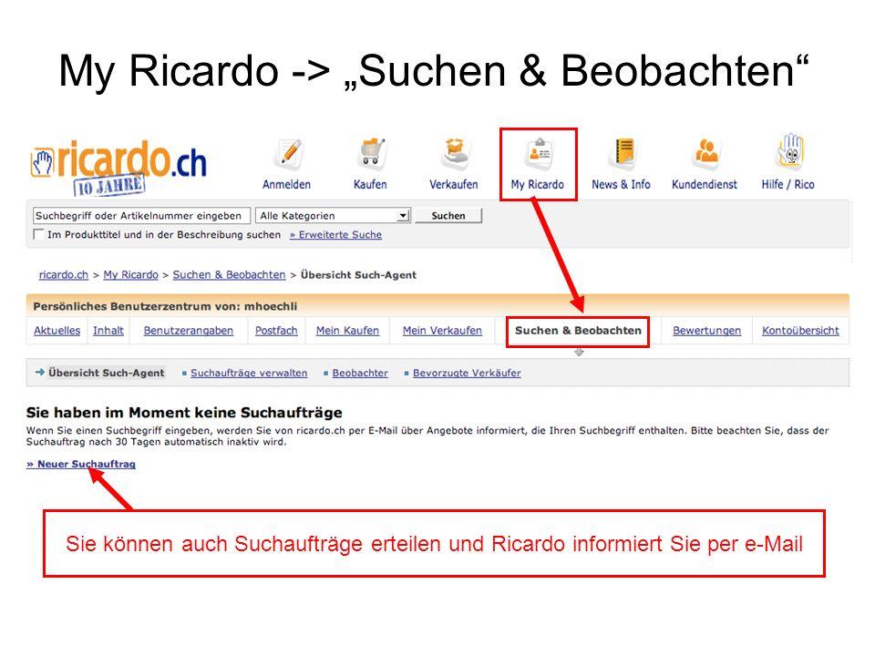 """My Ricardo -> """"Suchen & Beobachten"""