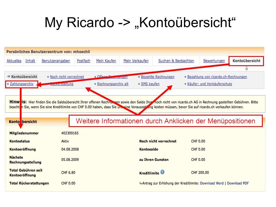 "My Ricardo -> ""Kontoübersicht"