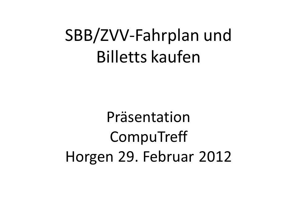 SBB/ZVV-Fahrplan und Billetts kaufen