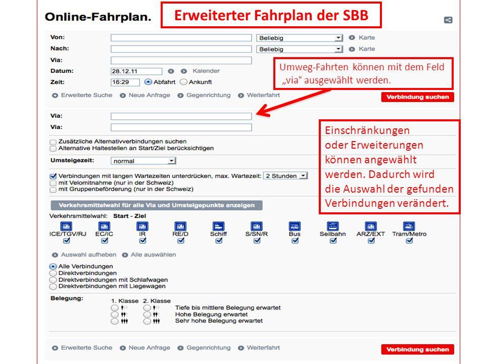 Erweiterter Fahrplan der SBB