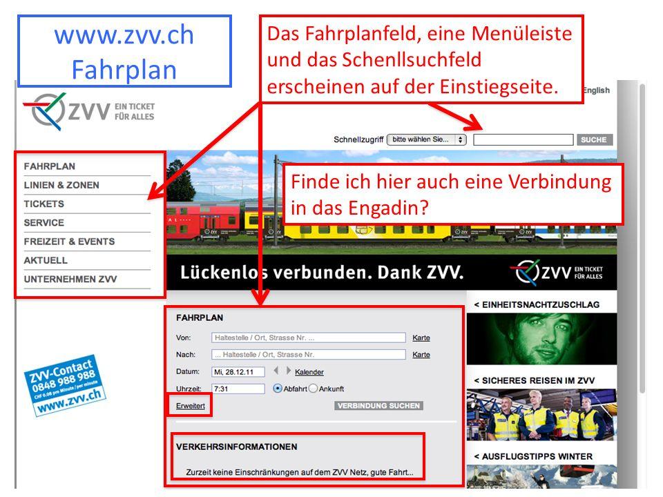 www.zvv.ch Fahrplan Das Fahrplanfeld, eine Menüleiste