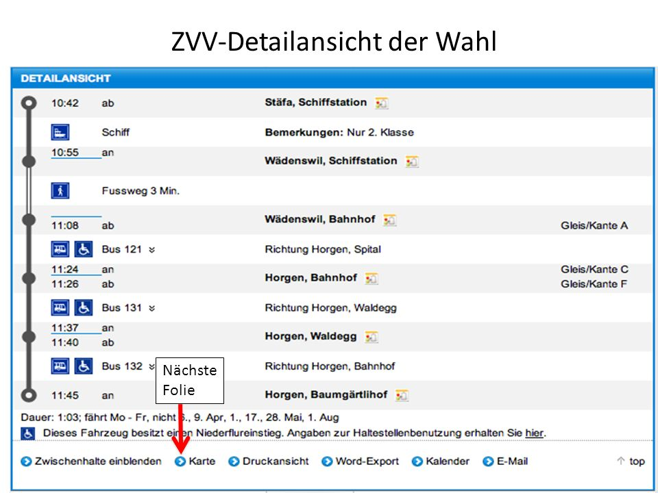 ZVV-Detailansicht der Wahl