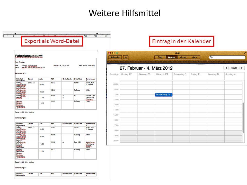 Weitere Hilfsmittel Export als Word-Datei Eintrag in den Kalender