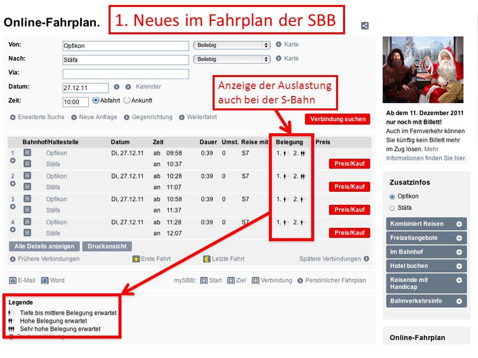 1. Neues im Fahrplan der SBB