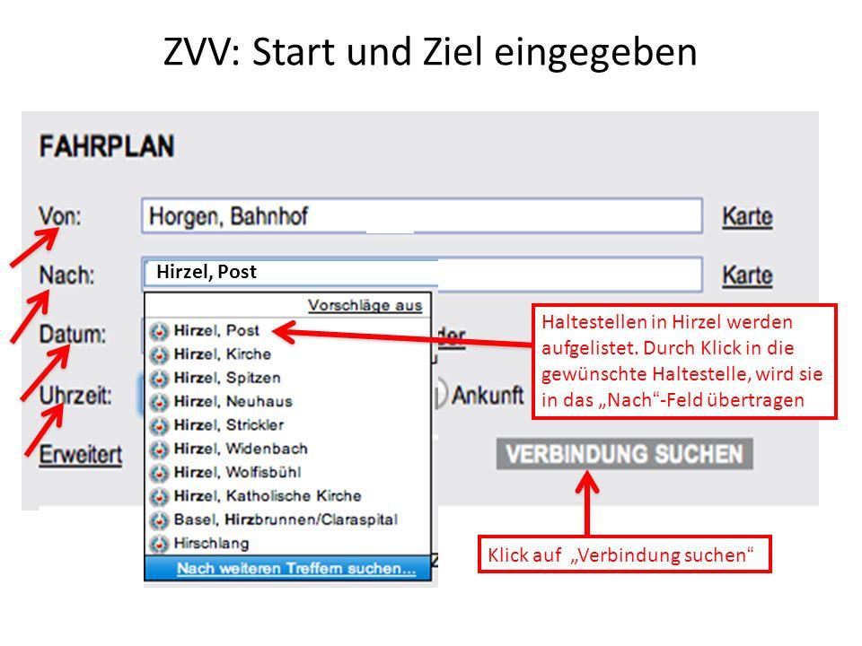ZVV: Start und Ziel eingegeben