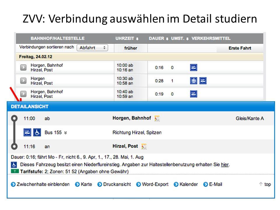 ZVV: Verbindung auswählen im Detail studiern