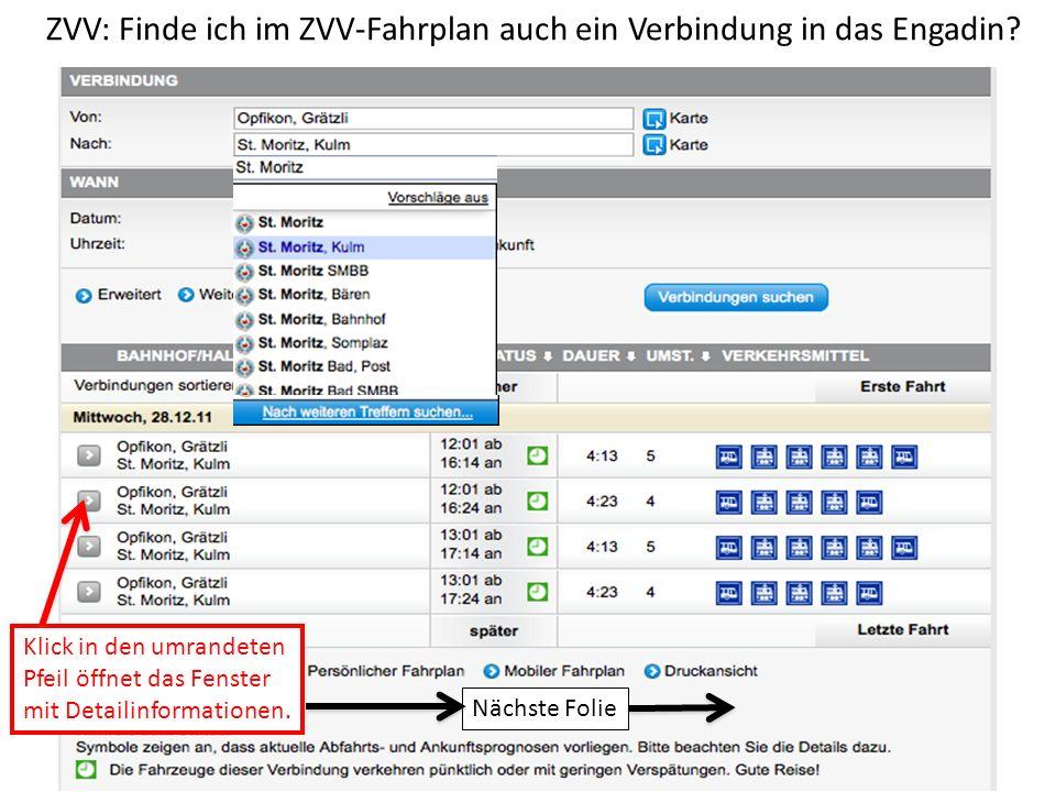 ZVV: Finde ich im ZVV-Fahrplan auch ein Verbindung in das Engadin