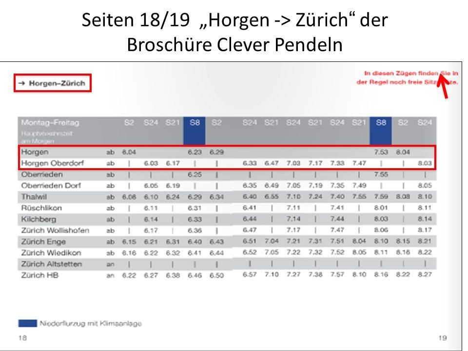 """Seiten 18/19 """"Horgen -> Zürich der Broschüre Clever Pendeln"""