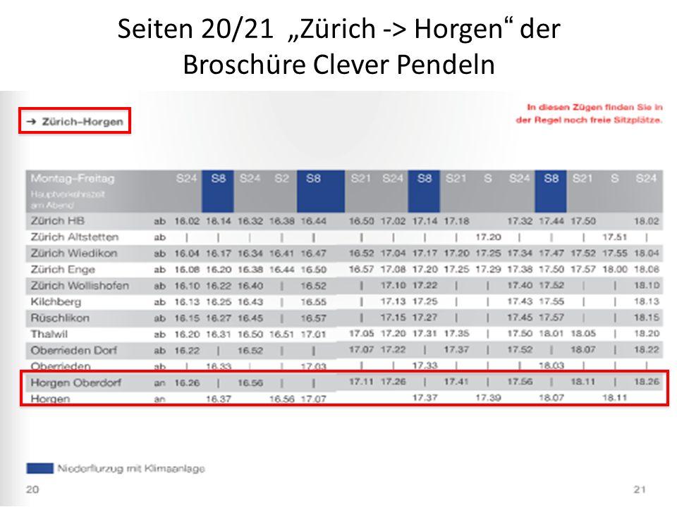 """Seiten 20/21 """"Zürich -> Horgen der Broschüre Clever Pendeln"""