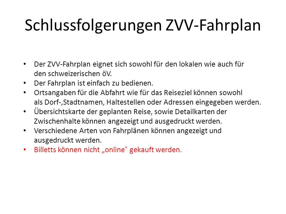 Schlussfolgerungen ZVV-Fahrplan
