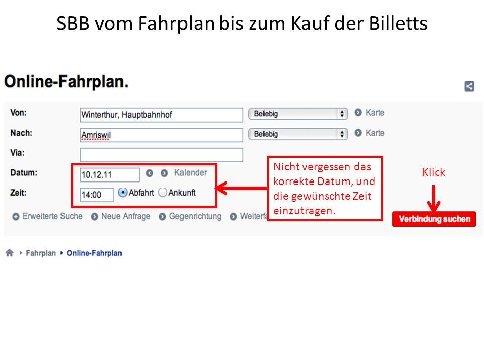 SBB vom Fahrplan bis zum Kauf der Billetts