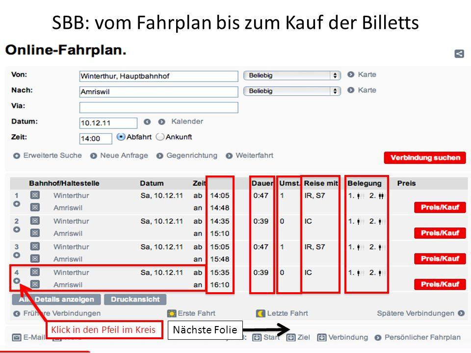 SBB: vom Fahrplan bis zum Kauf der Billetts
