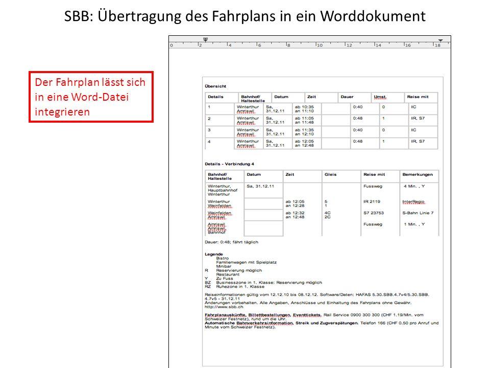SBB: Übertragung des Fahrplans in ein Worddokument