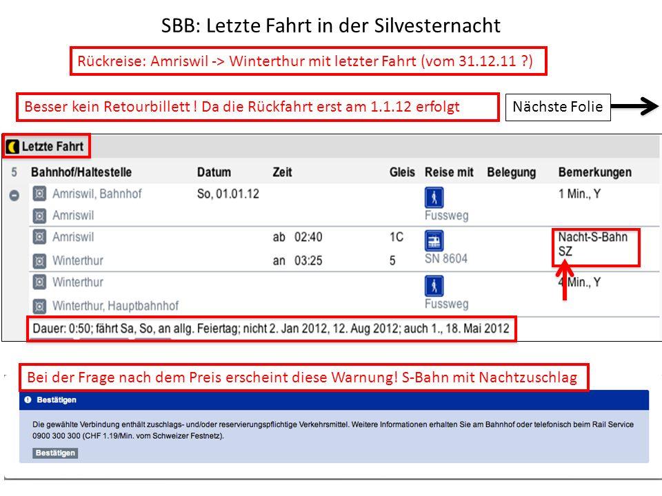 SBB: Letzte Fahrt in der Silvesternacht
