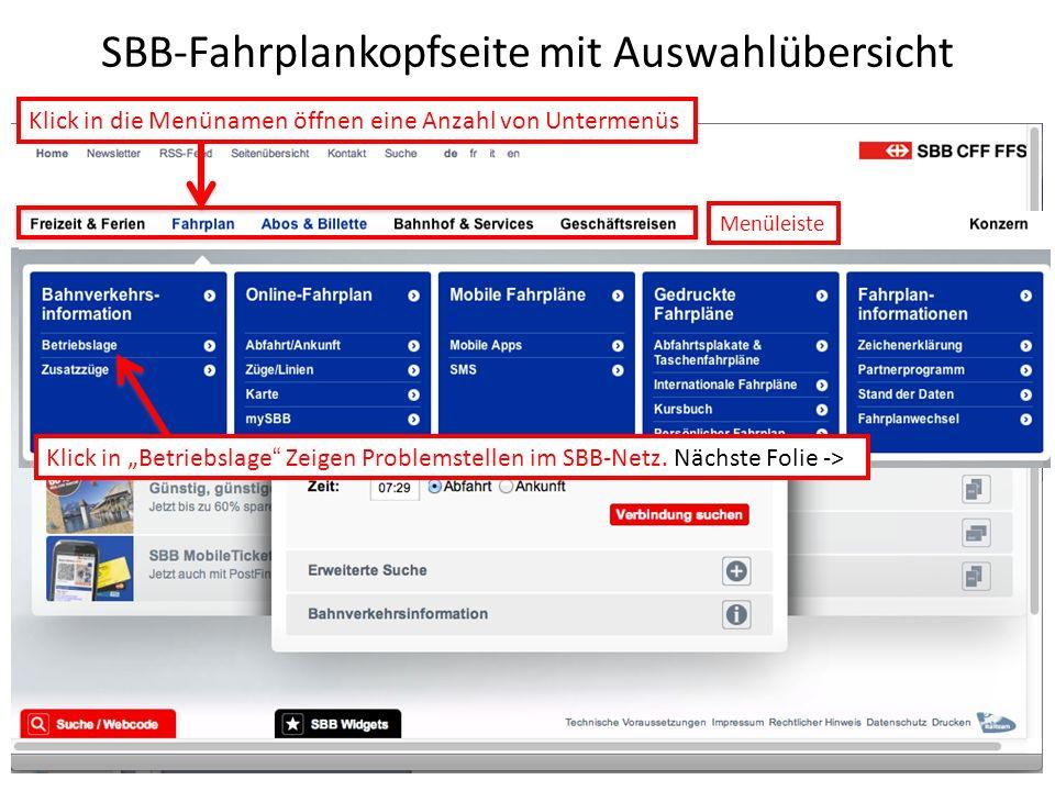 SBB-Fahrplankopfseite mit Auswahlübersicht