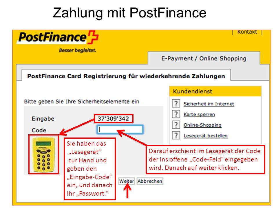 Zahlung mit PostFinance
