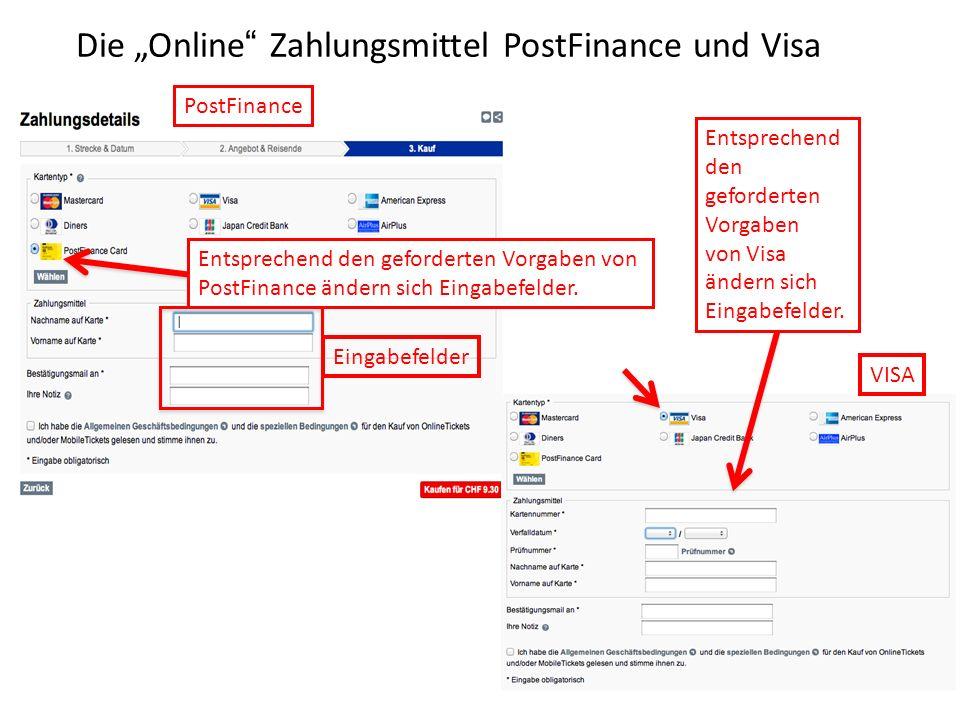 """Die """"Online Zahlungsmittel PostFinance und Visa"""