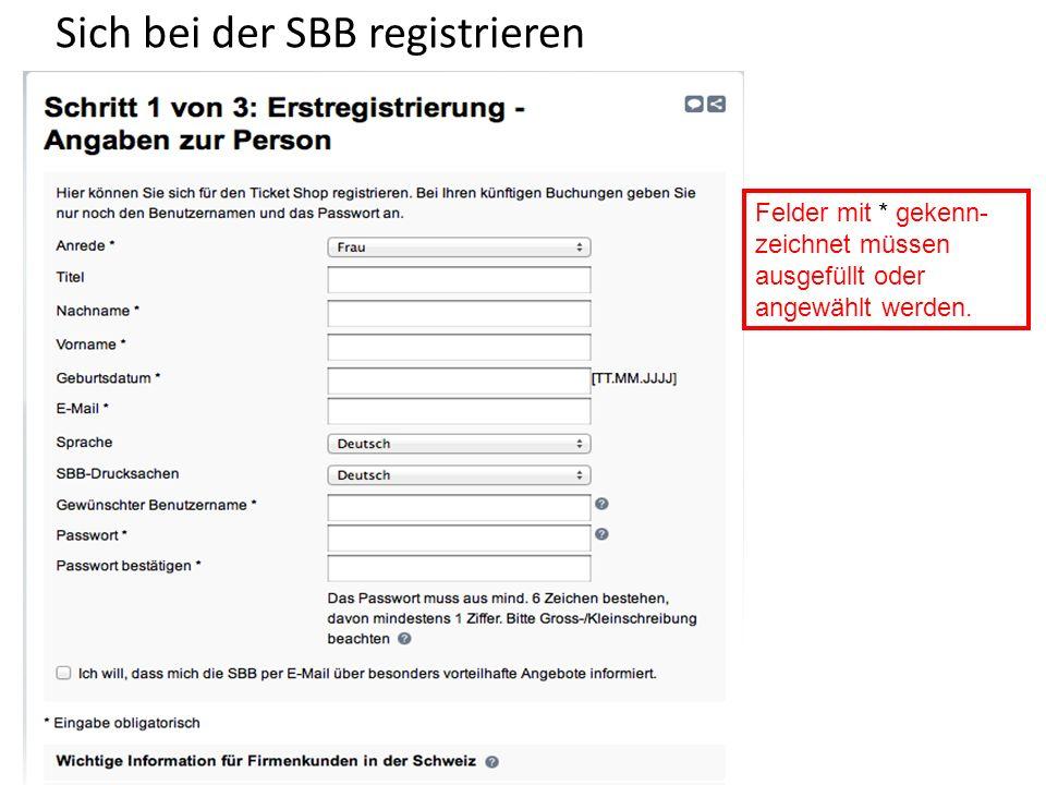 Sich bei der SBB registrieren