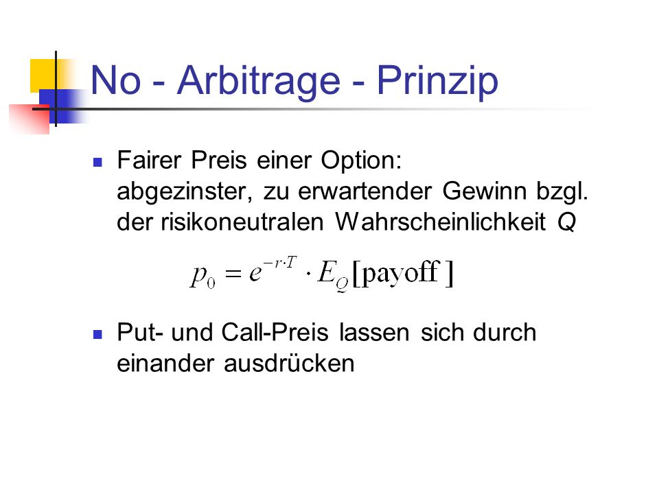 No - Arbitrage - Prinzip