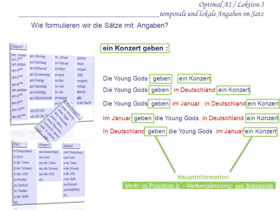 Optimal A1 / Lektion 3 ____________________________________temporale und lokale Angaben im Satz