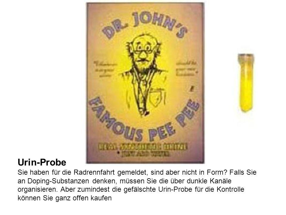 Urin-Probe Sie haben für die Radrennfahrt gemeldet, sind aber nicht in Form.