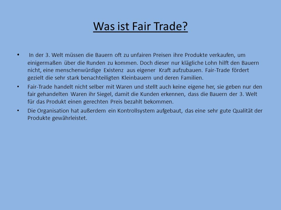 Was ist Fair Trade