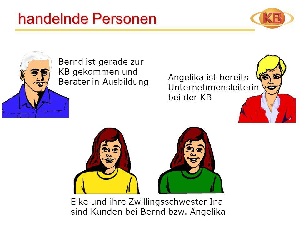 handelnde Personen Bernd ist gerade zur KB gekommen und Berater in Ausbildung. Angelika ist bereits Unternehmensleiterin bei der KB.