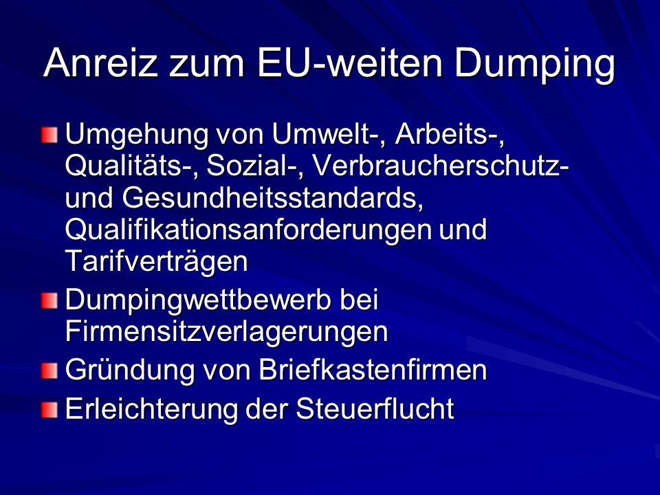 Anreiz zum EU-weiten Dumping
