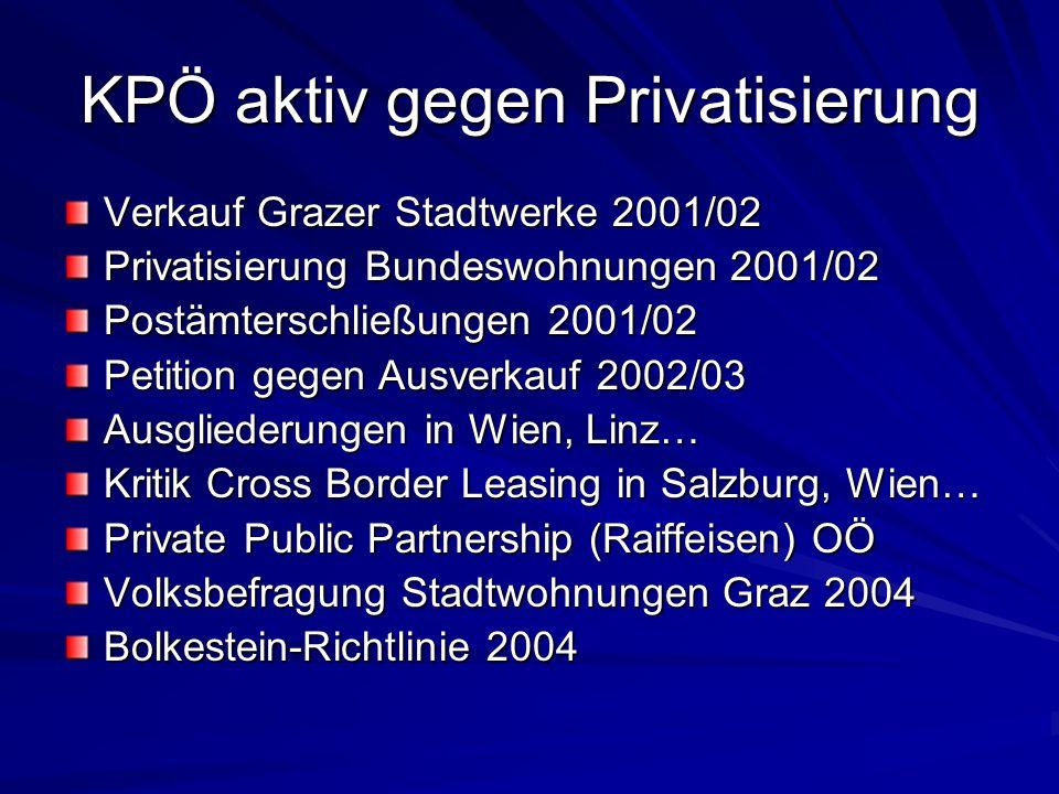 KPÖ aktiv gegen Privatisierung